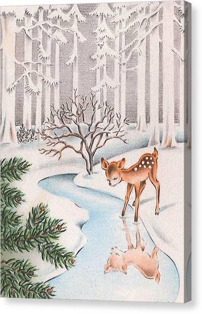 Vintage Canvas Print - Little Deer by Munir Alawi