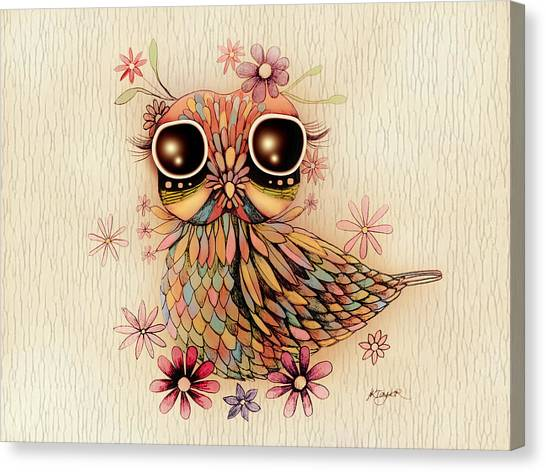 Baby Taylors Canvas Print - Little Flower Owl by Karin Taylor