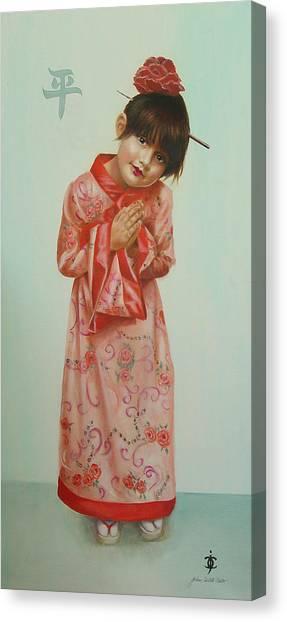 Little Geisha Canvas Print by JoAnne Castelli-Castor