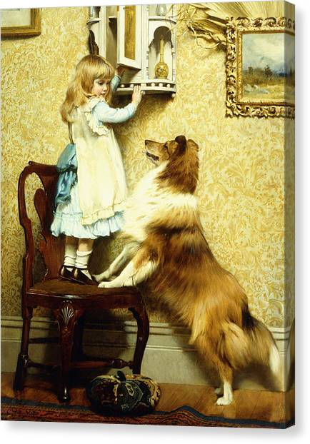 Burton Canvas Print - Little Girl And Her Sheltie by Charles Burton Barber