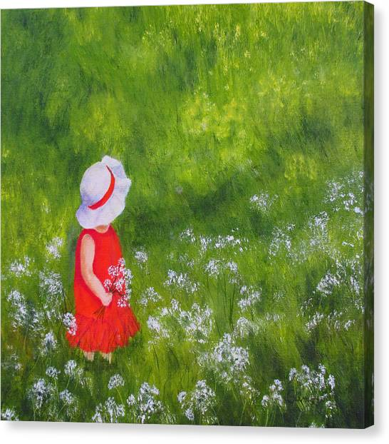 Girl In Meadow Canvas Print