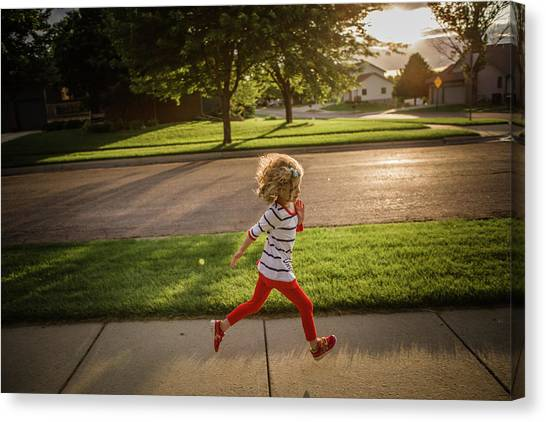 Little Girl Running Canvas Print by Annie Otzen