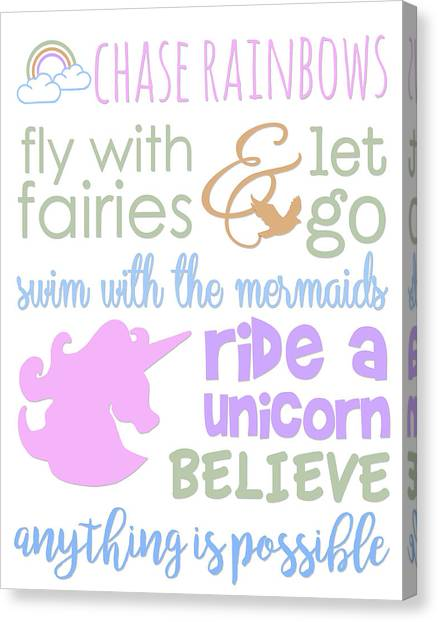 Unicorns Canvas Print - Little Girl Typography by Anna Quach