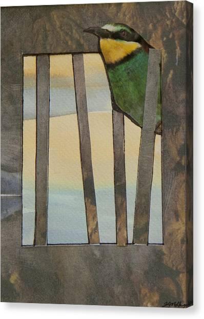 Little Green Bird Canvas Print