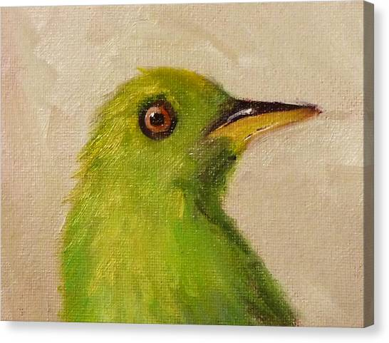 Bunting Canvas Print - Little Green Bird by Nancy Merkle