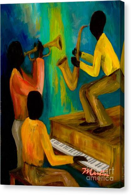 Yamaha Canvas Print - Little Jazz Trio I by Larry Martin