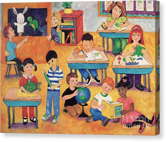 Elementary School Canvas Print - Little Learners by Peggy Johnson
