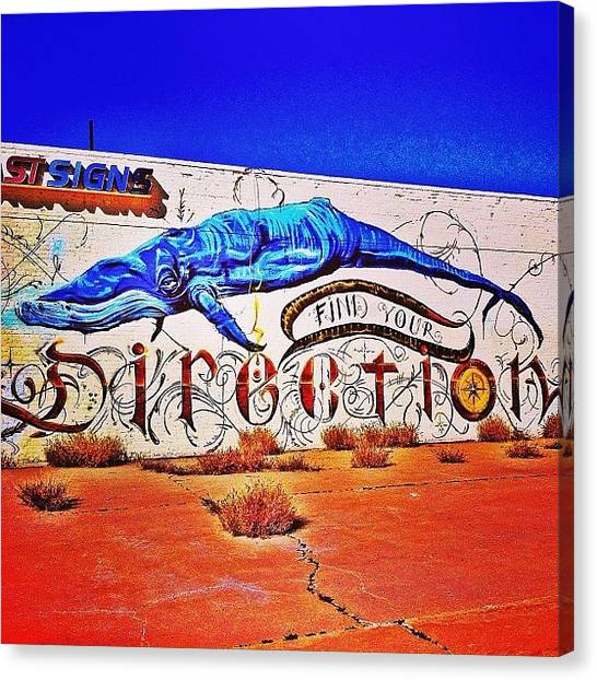 Whales Canvas Print - Little Lost Whale At The Old Fast Signs by AZ Street Art