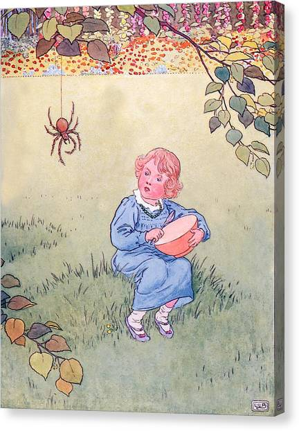 Nursery Rhyme Canvas Print - Little Miss Muffet by Leonard Leslie Brooke