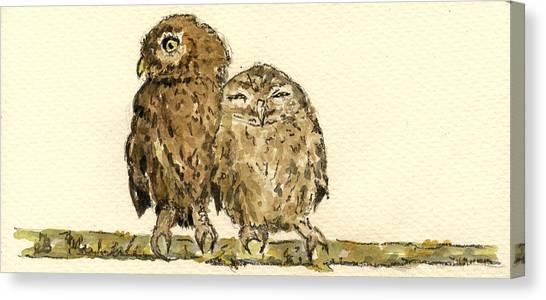 Cute Bird Canvas Print - Little Owls by Juan  Bosco
