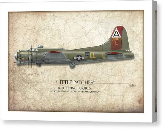 Pin-up Canvas Print - Little Patches B-17 Flying Fortress - Map Background by Craig Tinder