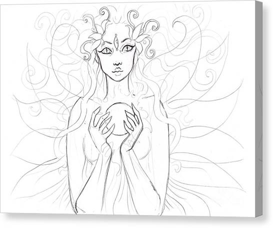 Little Piece Of The Universe Sketch Canvas Print by Coriander  Shea
