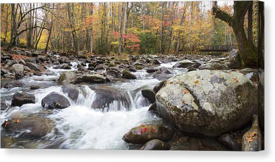 Little Pigeon River Bridge Panorama Canvas Print