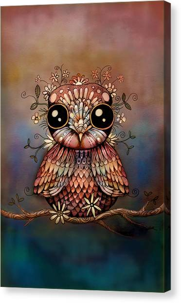 Baby Taylors Canvas Print - Little Rainbow Flower Owl by Karin Taylor