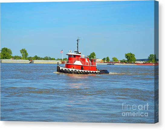 Little Red Boat On The Mighty Mississippi Canvas Print
