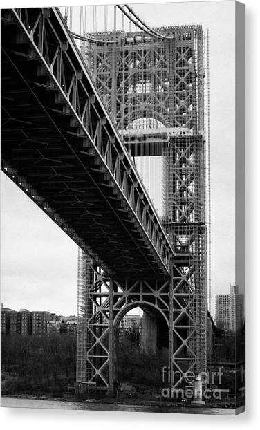 Manhatan Canvas Print - Little Red Lighthouse Beneath The George Washington Bridge Hudson River New York Nyc by Joe Fox