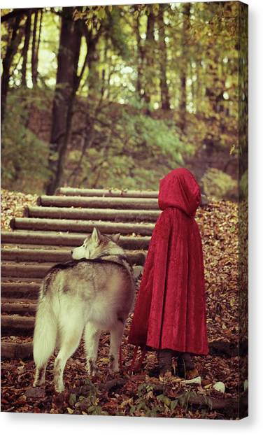 Ljubljana Canvas Print - Little Red Riding Hood And The Wolf by Susan.k.