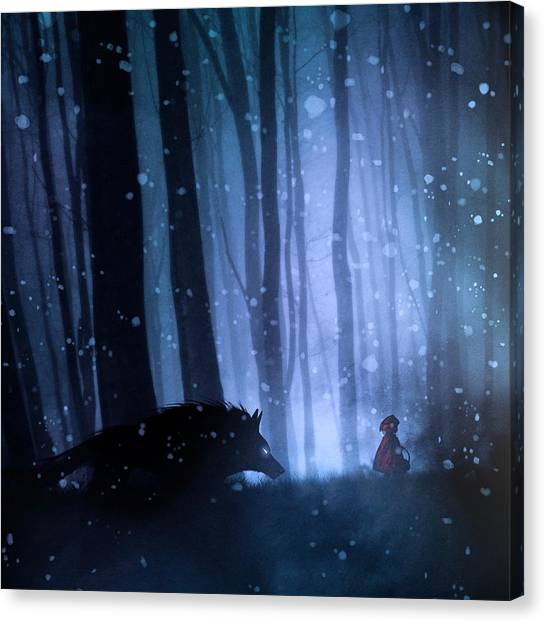 Little Red Riding Hood Canvas Print by Sebastien Del Grosso