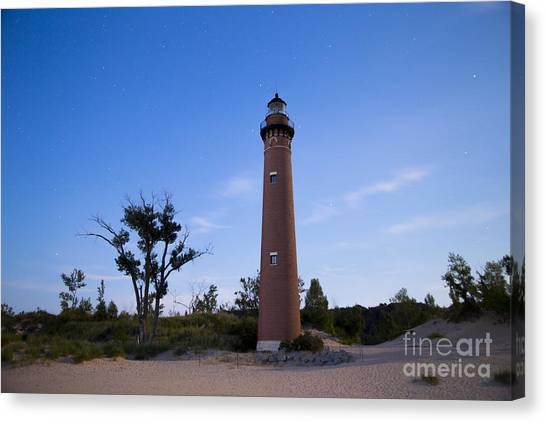 Silver Moonlight Canvas Print - Little Sable Lighthouse By Moonlight by Twenty Two North Photography