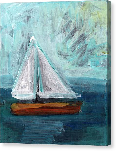 Sailboats Canvas Print - Little Sailboat- Expressionist Painting by Linda Woods