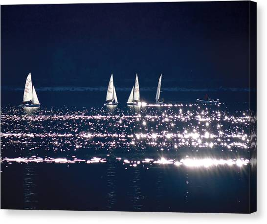 Little Sailing Boats Canvas Print by Lana Cuk