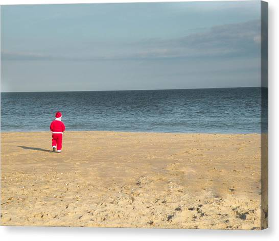 Little Santa On The Beach Canvas Print