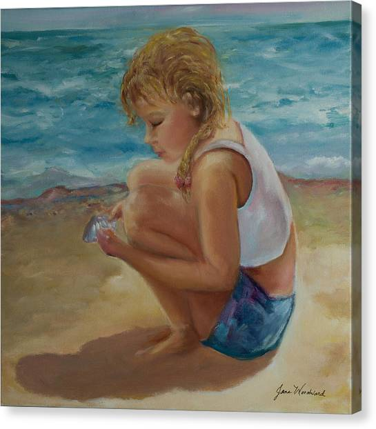 Canvas Print - Little Shell Collector by Jane Woodward