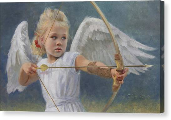 Young Canvas Print - Little Warrior by Anna Rose Bain