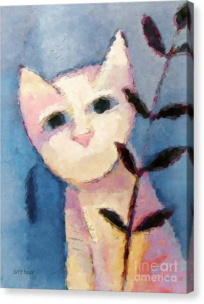 Little White Cat Canvas Print