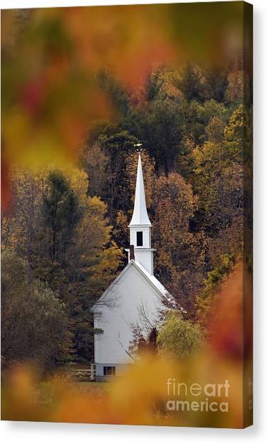 Little White Church - D007297 Canvas Print