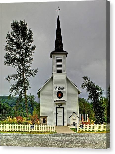 Little White Church Canvas Print
