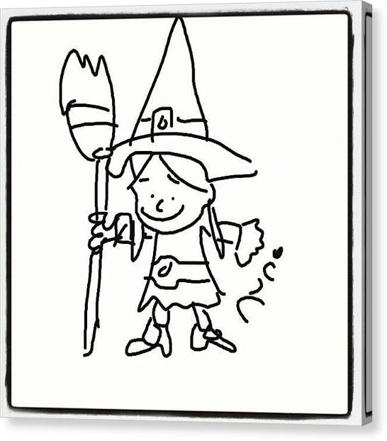 Witches Canvas Print - Little #witch #cartoon #caricatures by Nuno Marques