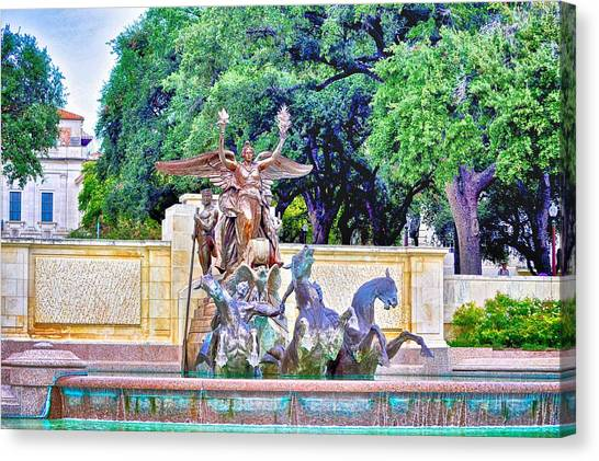 The University Of Texas Canvas Print - Littlefield Fountain At The Univeristy Of Texas by Kristina Deane