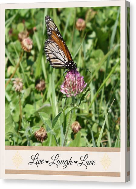 Live Laugh Love Butterfly Canvas Print