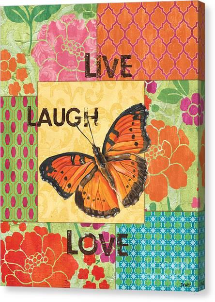 Motivational Canvas Print - Live Laugh Love Patch by Debbie DeWitt