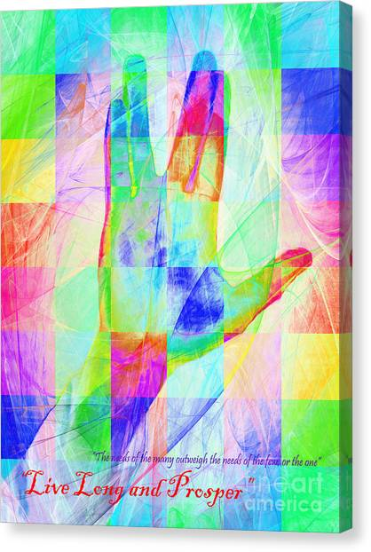 Spock Canvas Print - Live Long And Prosper 20150302v1 Color Squares With Text by Wingsdomain Art and Photography