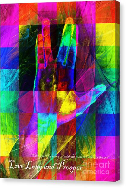 Spock Canvas Print - Live Long And Prosper Spock 20150302v3 Color Squares With Text by Wingsdomain Art and Photography