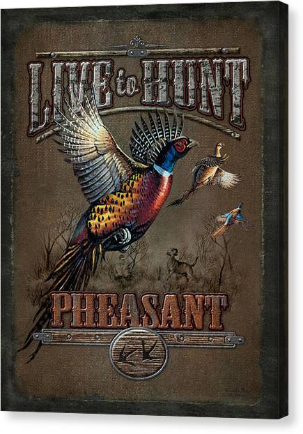 Pheasants Canvas Print - Live To Hunt Pheasants by JQ Licensing
