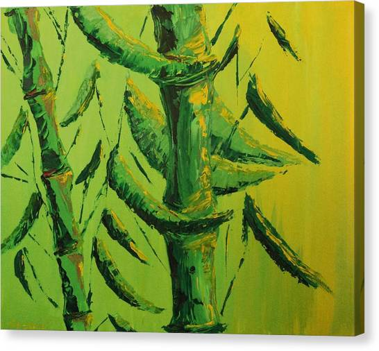 Lively Lime Bamboo Canvas Print
