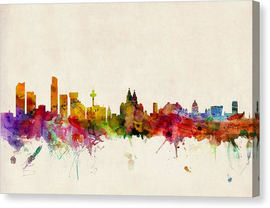United Kingdom Canvas Print - Liverpool England Skyline by Michael Tompsett