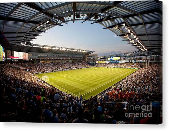 Sporting Kansas City Canvas Print - Livestrong Sporting Park Kansas City by Bill Cobb