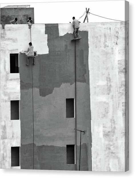 Construction Canvas Print - Living Beyond The Edge by Wayne Pearson