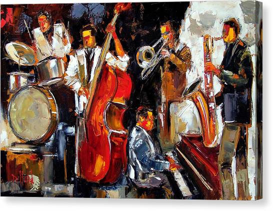 Trombones Canvas Print - Living Jazz by Debra Hurd