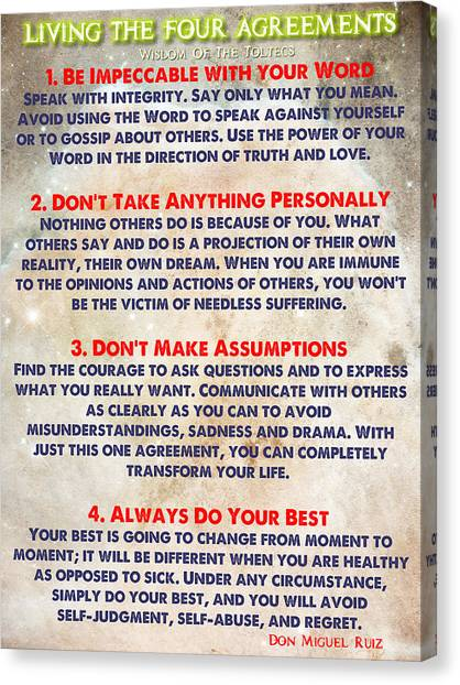 Living The Four Agreements - Wisdom Of The Toltecs Canvas Print