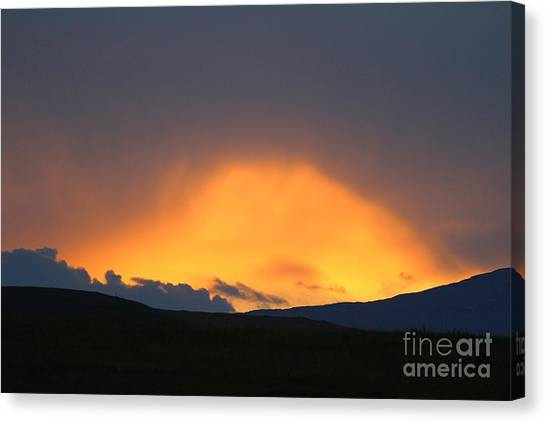 Canvas Print featuring the photograph Livingstone Range Sunset by Ann E Robson