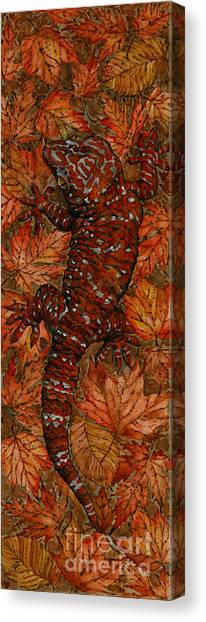 Lizard In Red Nature - Elena Yakubovich Canvas Print