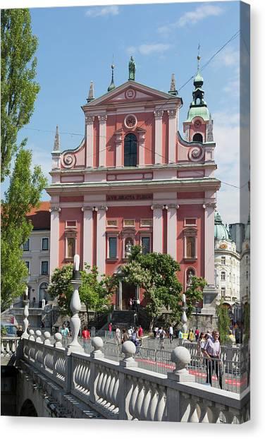 Ljubljana Canvas Print - Ljubljana, Slovenia. Presernov Trg Or by Panoramic Images