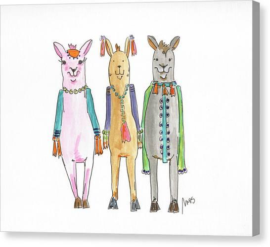 Llamas Canvas Print - Llama Three by Molly Susan Strong
