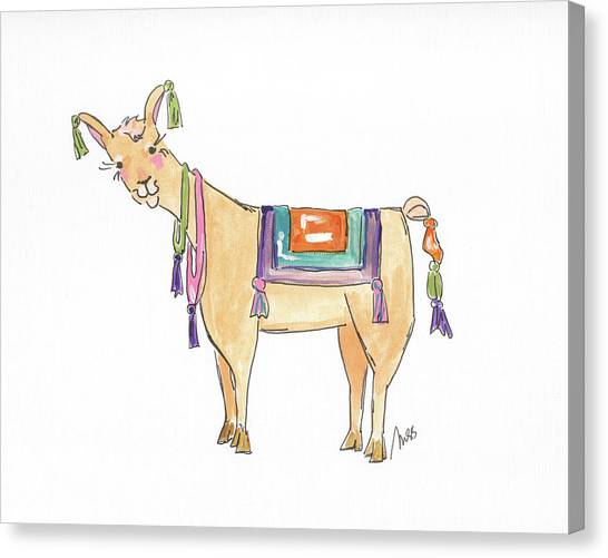 South American Canvas Print - Llama Two by Molly Susan Strong