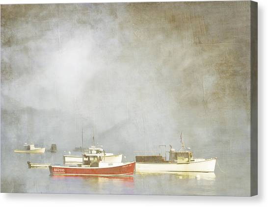 Boats Canvas Print - Lobster Boats At Anchor Bar Harbor Maine by Carol Leigh